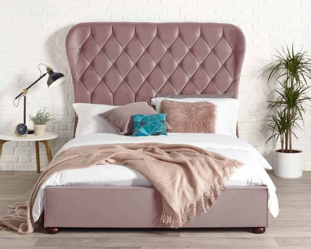 Vegas Modern Bed Frame Luxury Plush Velvet with Solid Feet