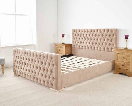 Raeesa Modern Bed Frame Luxury Kimiyo Linen with Solid Feet