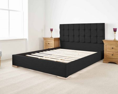 Roma Modern Bed Frame Luxury Malham Weave with Solid Feet