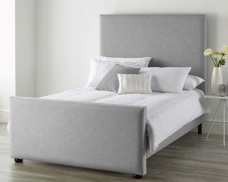 Catherine Lansfield Pure Cotton Collection Bed Frame Pure Pastel Cotton Storm with Solid Feet
