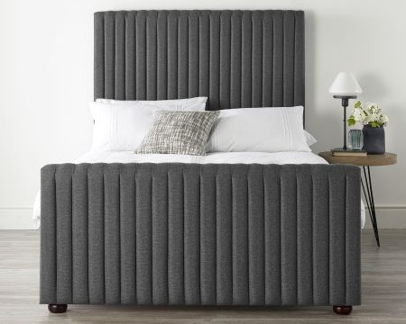 Catherine Lansfield Soho Collection Bed Frame Saxon Twill Grey with Solid Feet