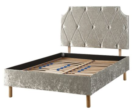 Catherine Lansfield Deco Collection Chrysler Bed Frame Velvet Silver with Solid Feet