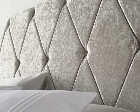 Catherine Lansfield Deco Collection Nouveau Headboard Velvet Silver Handcrafted in the UK Available in All Sizes