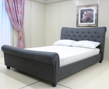 Rubin Dark Grey Fabric Bed