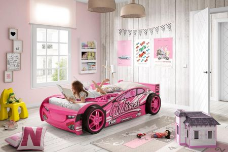 Girls Pink Sports Car Bed