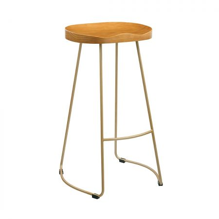 Lancaster Pine Wood Seat Effect Leg Bar Stool