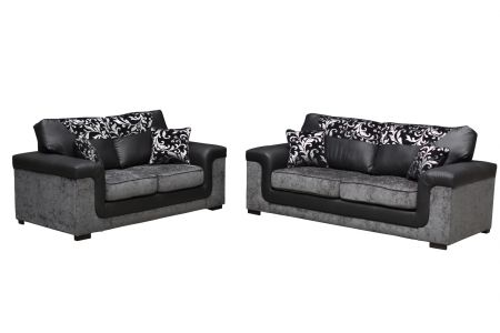 Luxaria Corner Left Hand Side Black and Grey Sofas
