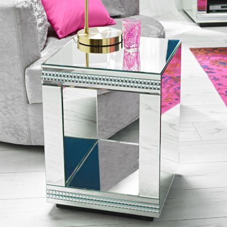 Leeds Cube Mirrored Lamp Table
