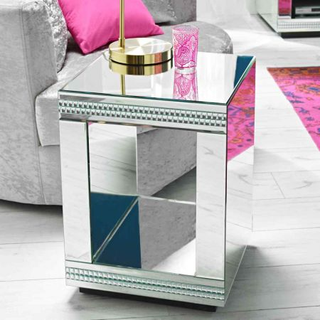 Biars Cube Mirrored Lamp Table