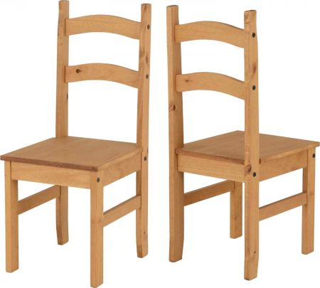 Budget Mexican Chair x 2 Distressed Waxed Pine