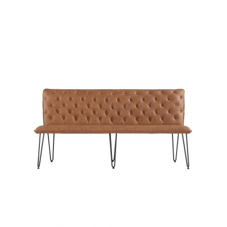 Criten Studded Back Bench 180cm With Hairpin Legs