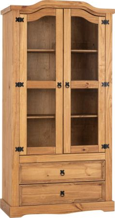 Coroso 2 Door 2 Drawer Glass Display Unit Distressed Waxed Pine and Clear Glass