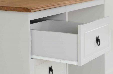 Coroso 3 Drawer Dressing Table Grey and Distressed Waxed Pine