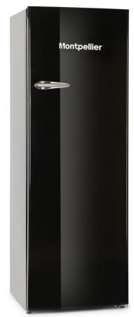 Montpellier Black Retro Style Tall Fridge With 4* Icebox