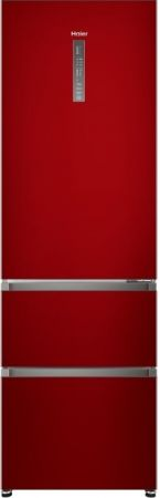 Haier Red Three Door My Zone Fridge Freezer