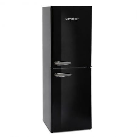 Montpellier Black Retro Style 48cm Wide Static Fridge Freezer