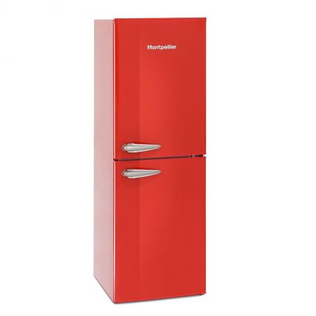 Montpellier Red Retro Style 48cm Wide Static Fridge Freezer
