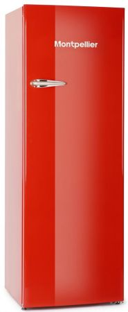 Montpellier Red Retro Style Tall Fridge With 4* Icebox