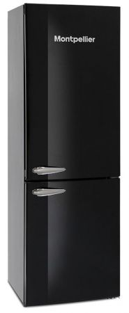 Montpellier Black Retro Frost Free Fridge Freezer