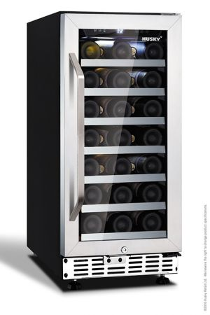 Husky 31 Bottle Single Zone Wine Cooler With Stainless Steel And Glass Door