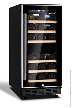 Husky Black With Stainless Steel T Bar Handle 26 Bottle Dual Zone Wine Cooler