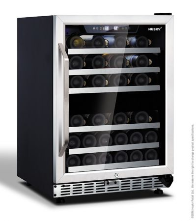 Husky 44 Bottle Dual Zone Wine Cooler With Stainless Steel Door