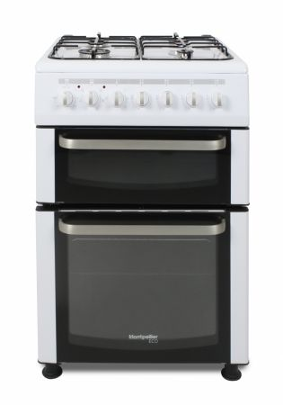 Montpellier Eco White 60cm Twin Cavity Dual Fuel Cooker