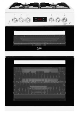 Beko White Gas Cooker With Double Oven