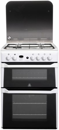 Indesit White 60cm Gas Cooker With Double Oven
