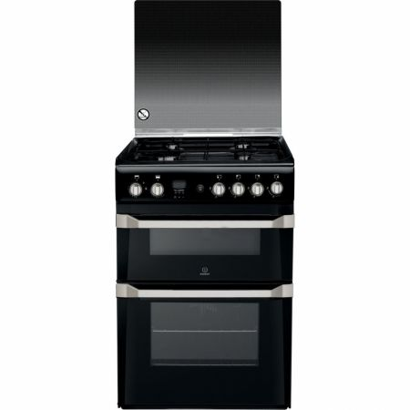 Indesit Black Gas Cooker With Doule Oven