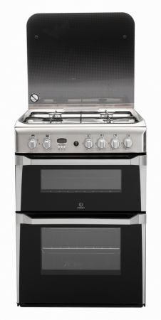 Indesit Stainless Steel 60cm Gas Cooker With Double Oven