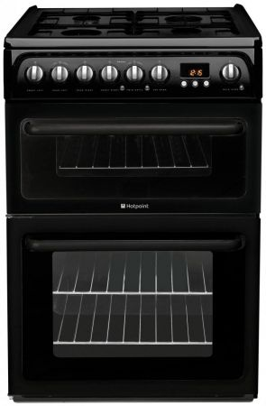 Hotpoint 60cm Black Double Oven Gas Cooker