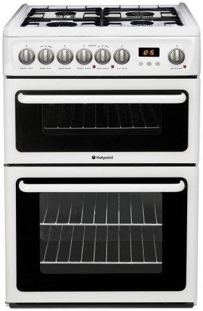 Hotpoint 60cm White Double Oven Gas Cooker