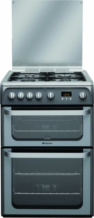 Hotpoint Ultima 60cm Graphite Gas Cooker With Double Oven