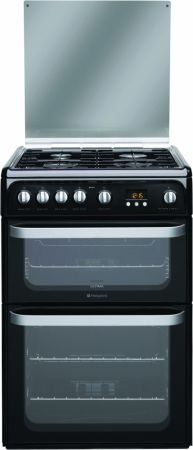 Hotpoint Ultima 60cm Black Gas Cooker With Double Oven