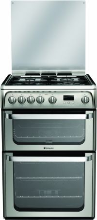 Hotpoint Ultima 60cm Stainless Steel Gas Cooker With Double Oven