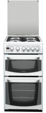 Cannon By Hotpoint Carrick 60cm White Gas Cooker With Double Oven