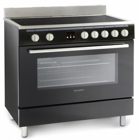 Montpellier Essential Collection Black 90cm Single Cavity Range Cooker With Ceramic Hob