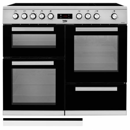 Beko Stainless Steel 100cm Double Oven Range Cooker With Ceramic Hob