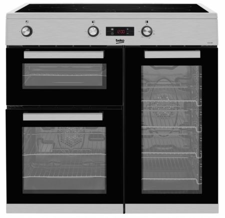 Beko Stainless Steel 90cm Double Oven Induction Range Cooker