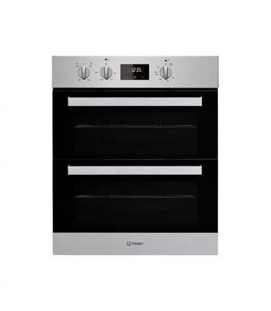 Indesit Stainless Steel Built Under Double Fan Oven