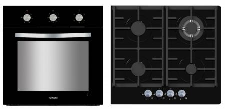 Montpellier Black Oven And Gas On Glass Hob Pack