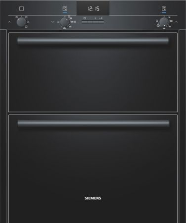 Siemens Iq100 Black Built Under Hot Air Double Oven