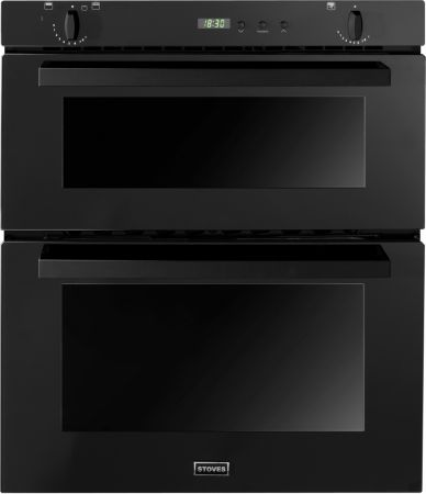 Stoves Black Built Under Gas Double Oven With Telescopic Sliders And Halogen Lights