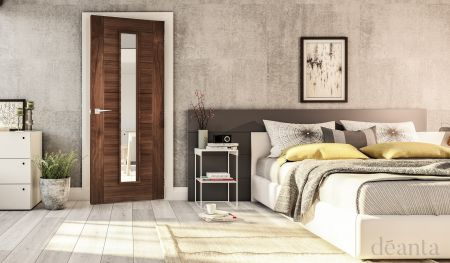 Seville Prefinished Walnut Glazed 1L FD30 FSC Doors