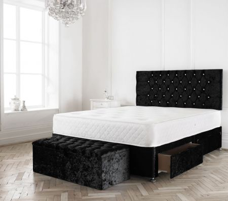 Pliris Crushed Velvet Divan Bed Frame with Headboard and Mattress