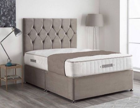 Rosie Plush Velvet Divan Bed Frame with Headboard and Mattress