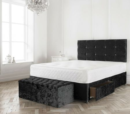 Siana Crushed Velvet Divan Bed Frame with Headboard and Mattress