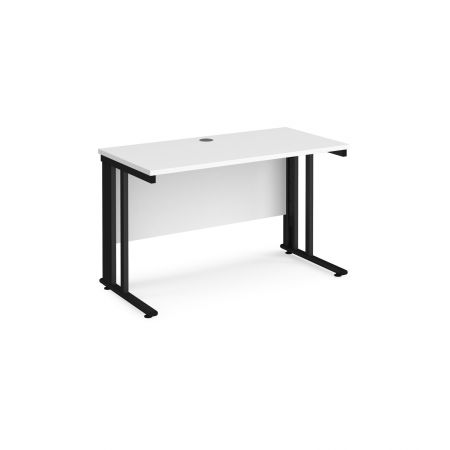Mistron 25 Straight Office Desk 1200mm X 600mm - Black Cable Managed Leg Frame