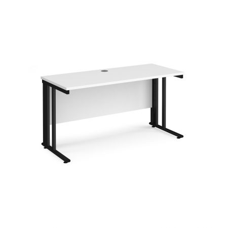 Mistron 25 Straight Office Desk 1400mm X 600mm - Black Cable Managed Leg Frame